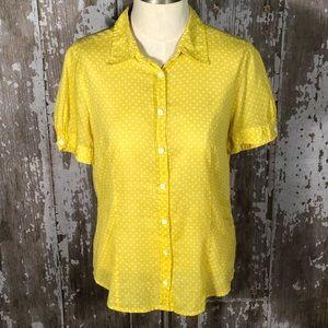 J Crew Yellow Polka Dot Blouse Size 12